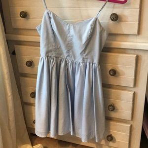 Blue & white pin strip dress